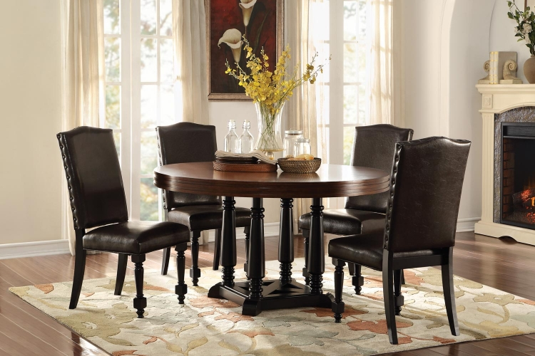 Blossomwood Round Dining Set with Bi-Cast Chairs - Cherry/Black