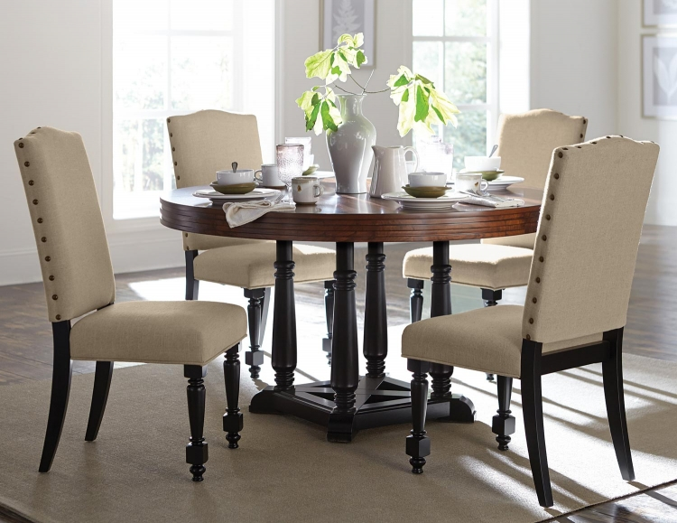 Blossomwood Round Dining Set with Fabric Chairs - Cherry/Black