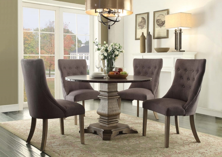 Anna Claire Round Dining Set S2 - Driftwood/Zinc