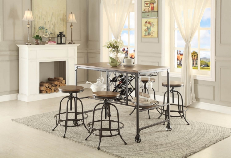 Angstrom Counter Height Dining Set with Wine Rack B