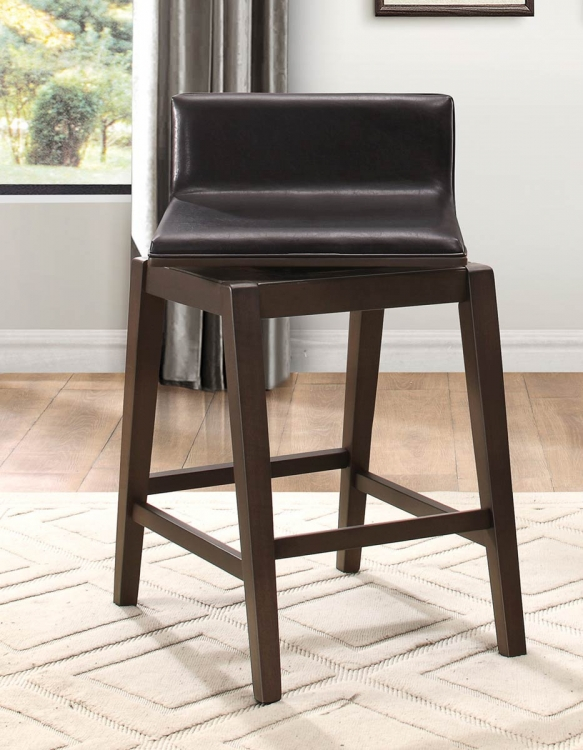 Rochelle Swivel Counter Height Chair - Dark Brown Bi-Cast