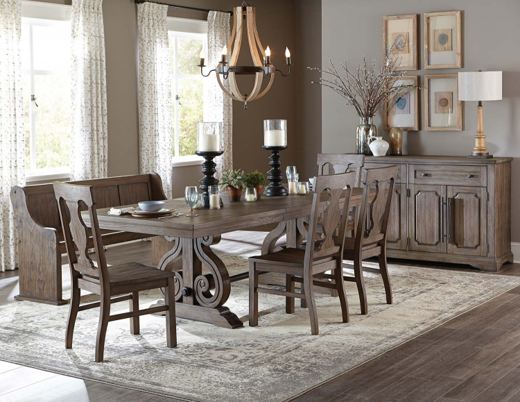 Toulon Trestle Dining Set - Wire Brushed