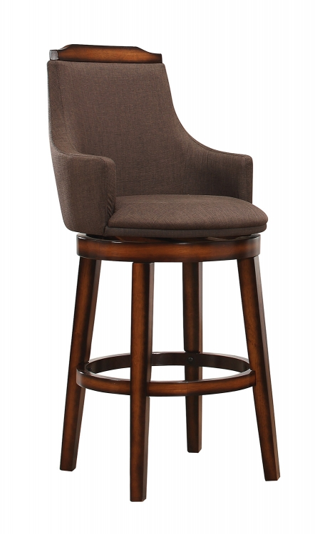 Bayshore Swivel Counter Height Chair - Chocolate/Linen