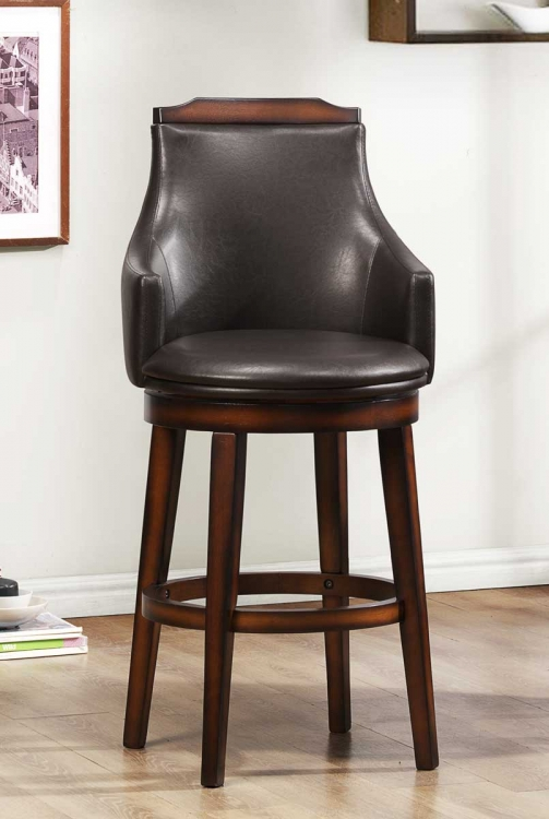 Bayshore Swivel Pub Chair - Medium Walnut - Vinyl - Homelegance