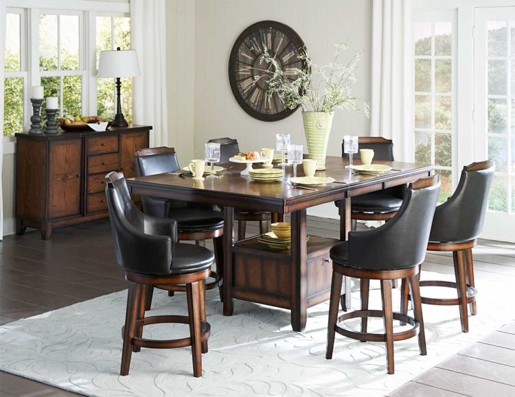 Bayshore Counter Height Dining Set - Medium Walnut - Homelegance