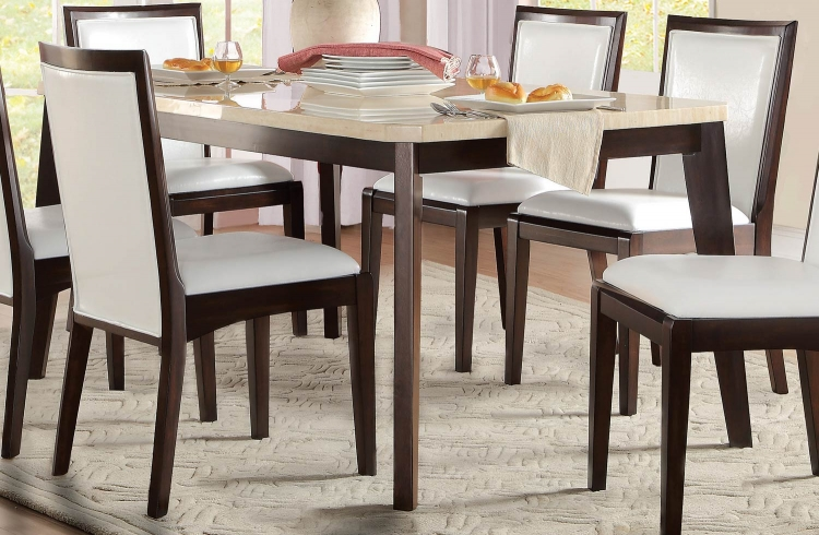 Tijeras Dining Table - Faux Marble Top - Dark Brown