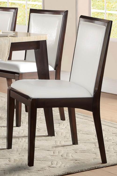 Tijeras Side Chair - Dark Brown/White