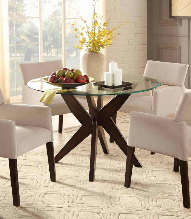 Massey Round Glass Top Dining Table - Espresso