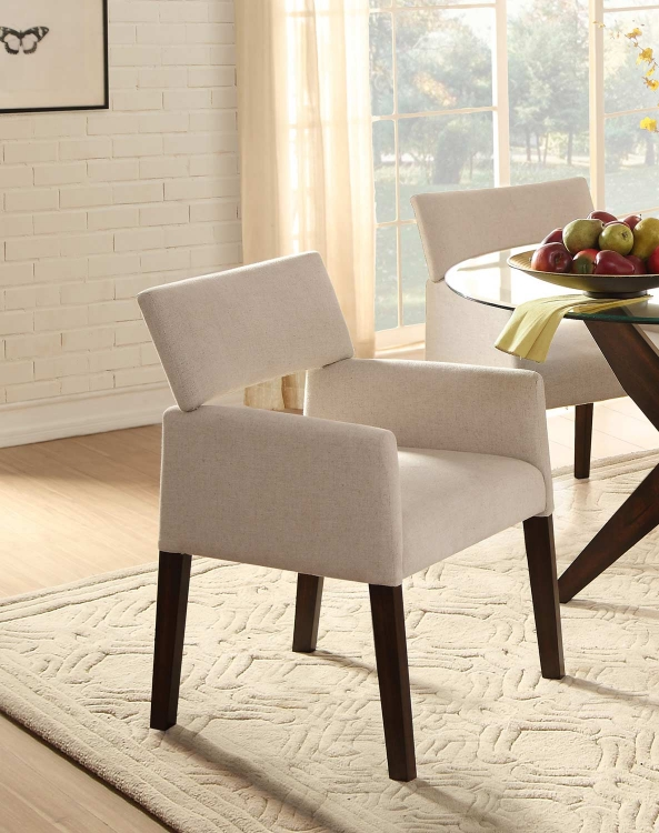 Massey Beige Arm Chair - Espresso