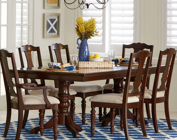 Glendive Double Pedestal Dining Table with Leaf - Brown Cherry