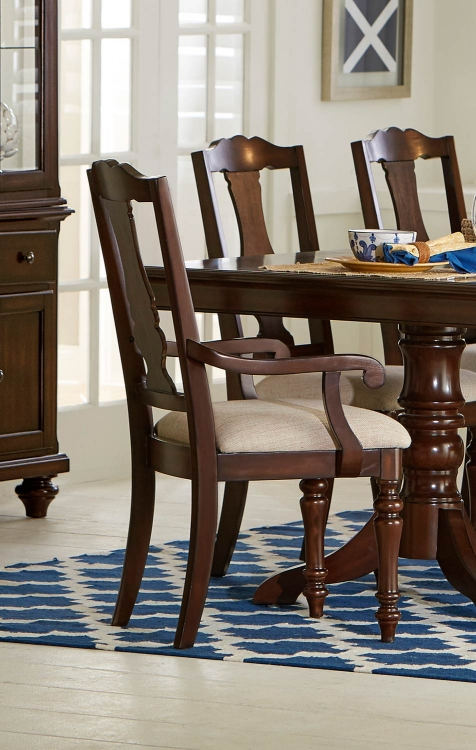 Glendive Arm Chair - Brown Cherry