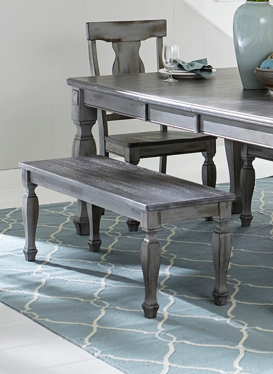 Fulbright 48-inch Bench - Weathered Gray Rub Through Finish