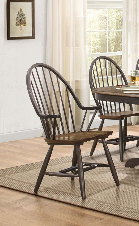 Cline Windsor Chair with Arms - Two tone finish