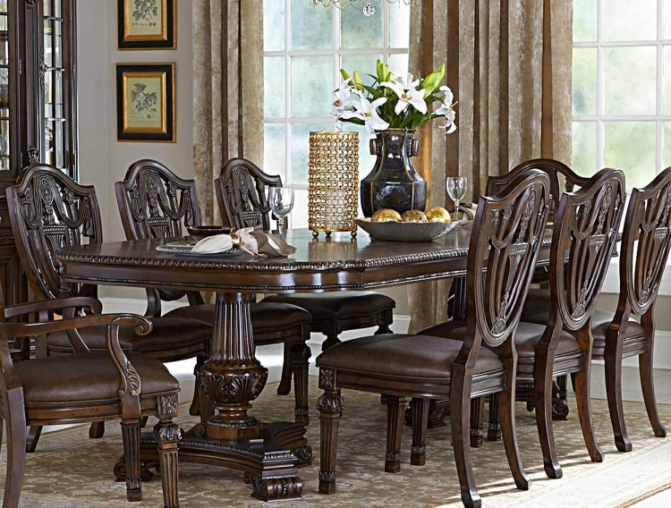 Chilton Double Pedestal Dining Table with Leaf - Cherry