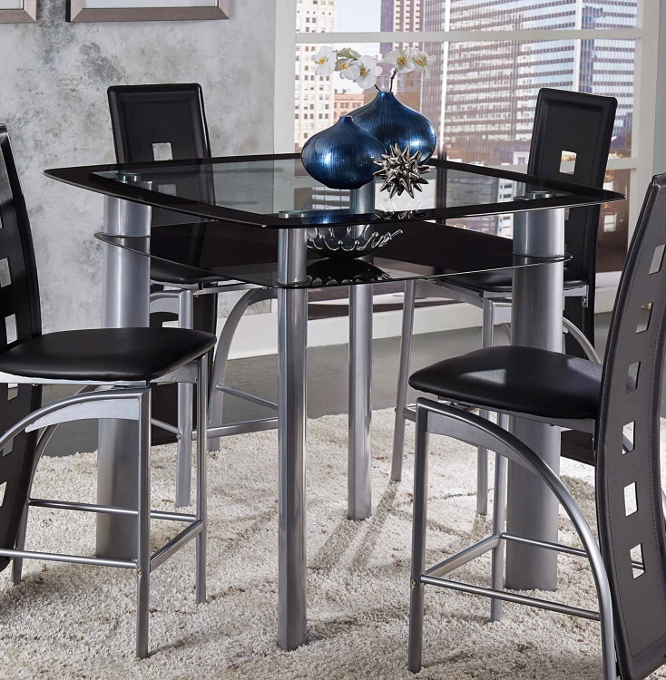 Sona Square Glass Top Counter Height Dining Table - Glass/Metal