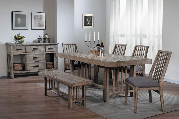 Codie Rectangular Dining Set - Brown Burnishing/Gray Undertones