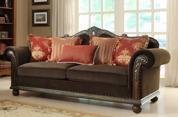 Catalina II Sofa - Chocolate - Chenille - Homelegance