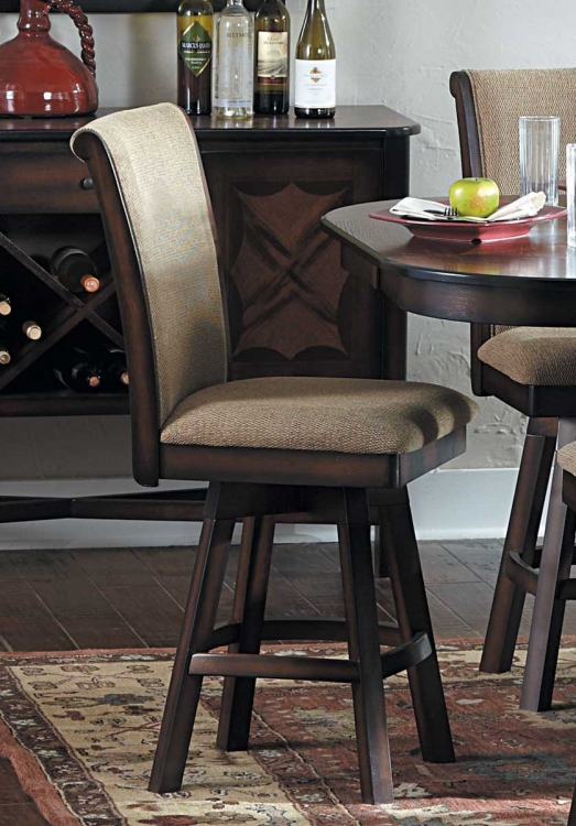 Westwood Swivel Counter Height Chair - Beige - Burnished Oak Finish