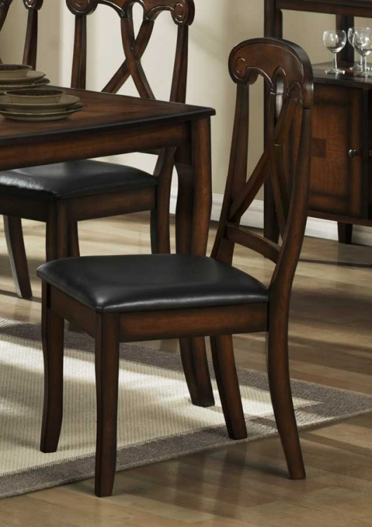 Kinston Side Chair in Dark Brown Leatherette - Homelegance
