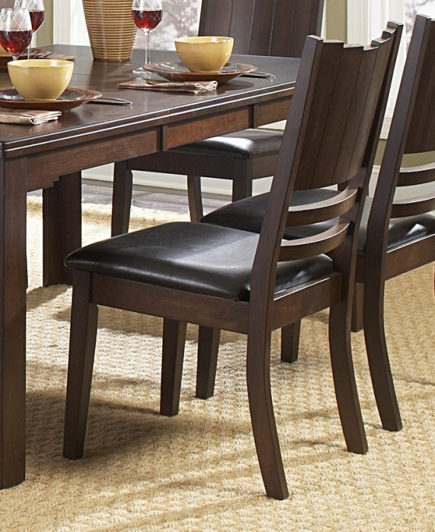 Neely Side Chair in Dark Brown Leatherette - Homelegance