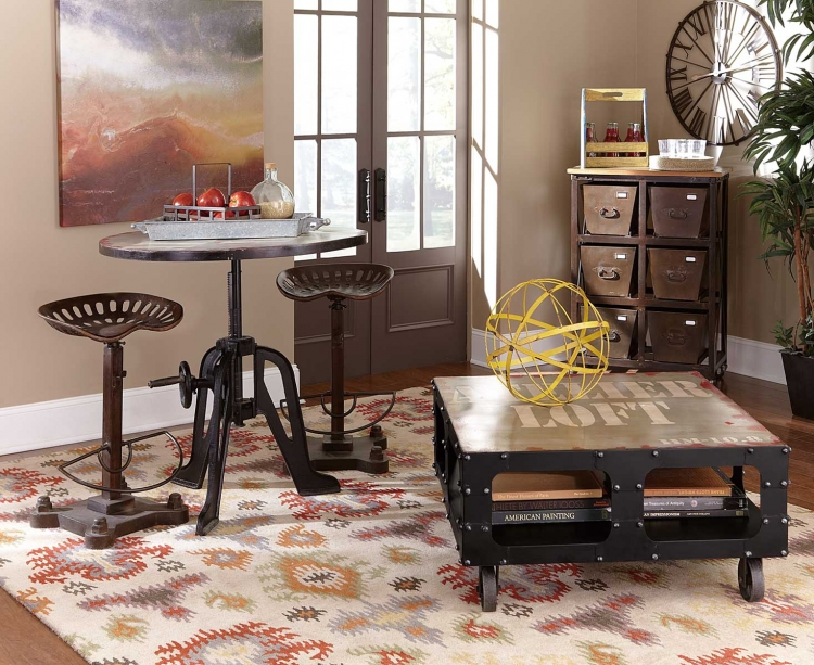 Amara Iron Lift-Top Table Pub Dining Set