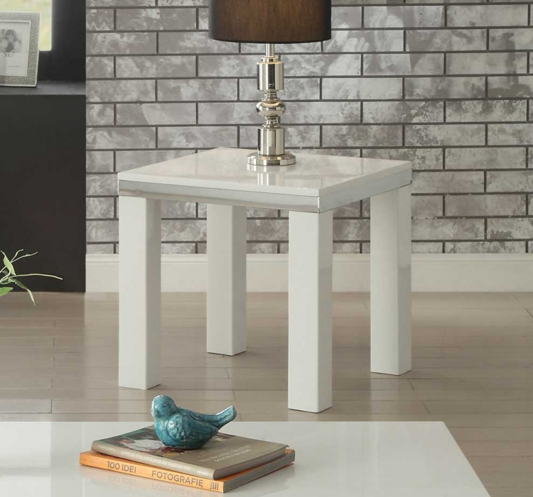 Rohme End Table - High Gloss White