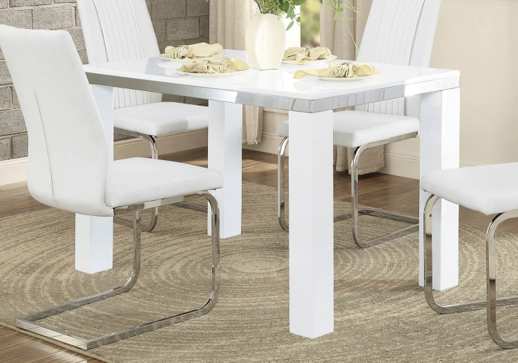 Rohme Dining Table - Glossy White/Chrome