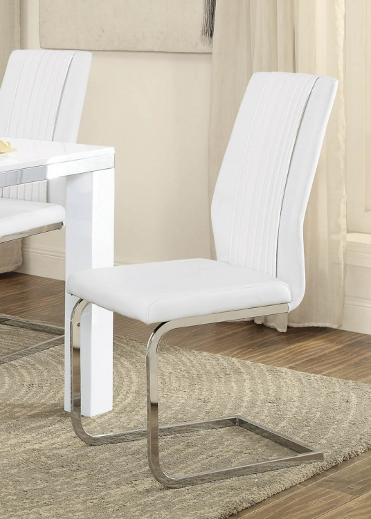 Rohme Side Chair - Glossy White/Chrome