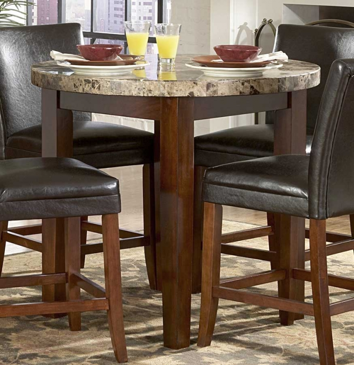 Achillea Round Counter Height Dining Table-Marble Top