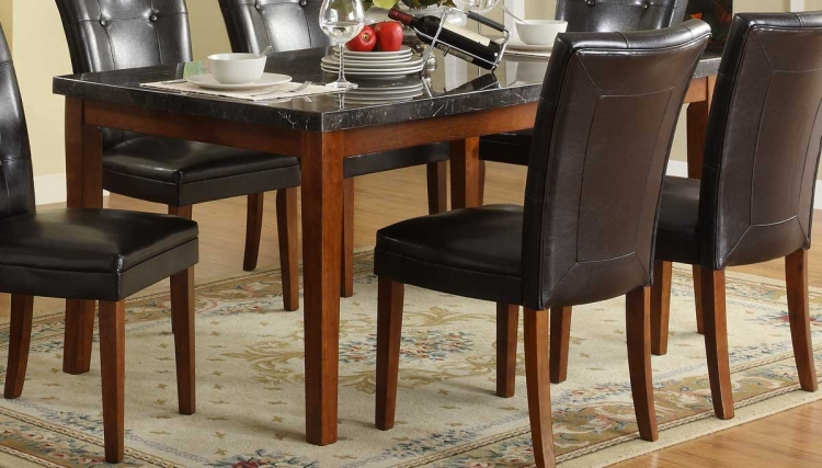Stoney Dining Table in Dark Marble Top