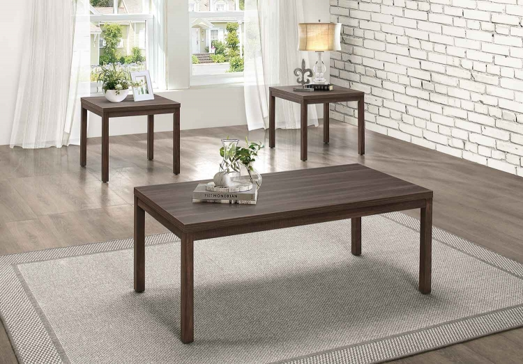 Turia 3-Piece Occasional Table Set - Cool Brown