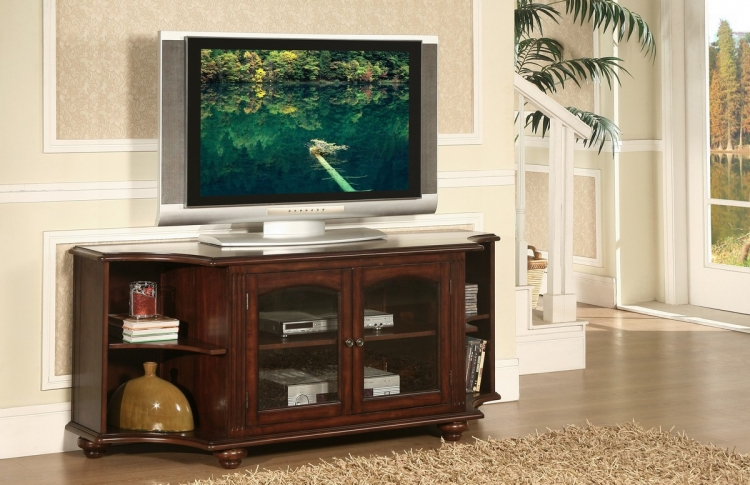 Piedmont 60in TV Stand in Cherry Finish - Homelegance