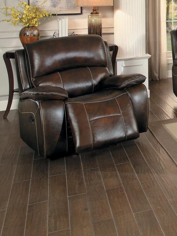 Mahala Glider Reclining Chair - Brown Top Grain Leather Match