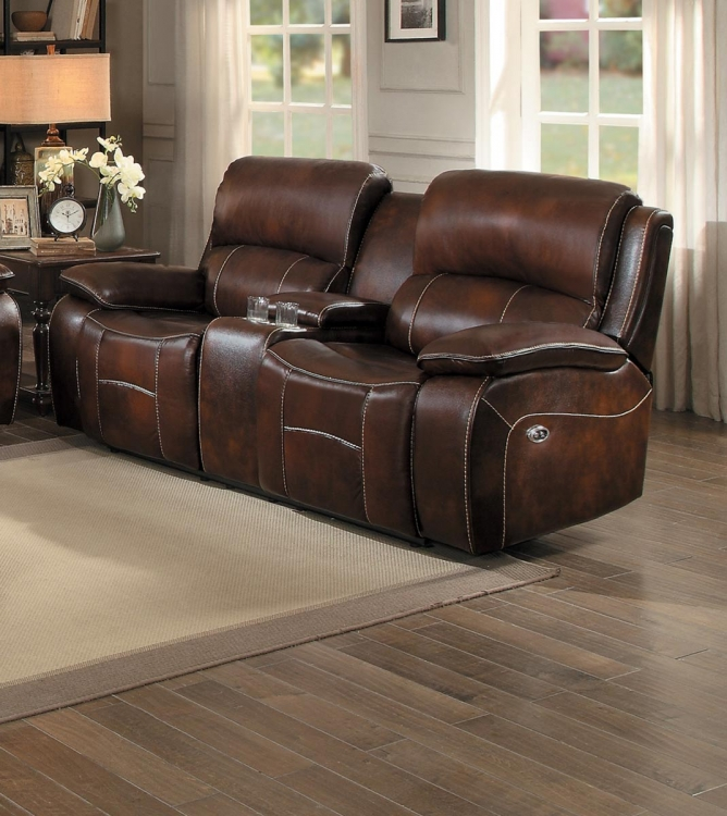 Mahala Power Double Reclining Love Seat with Center Console - Brown Top Grain Leather Match