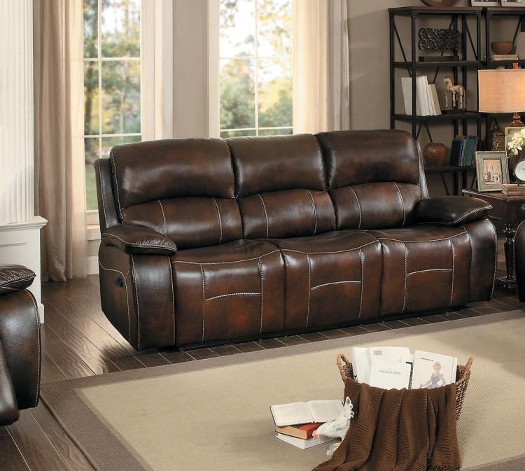 Mahala Double Reclining Sofa - Brown Top Grain Leather Match