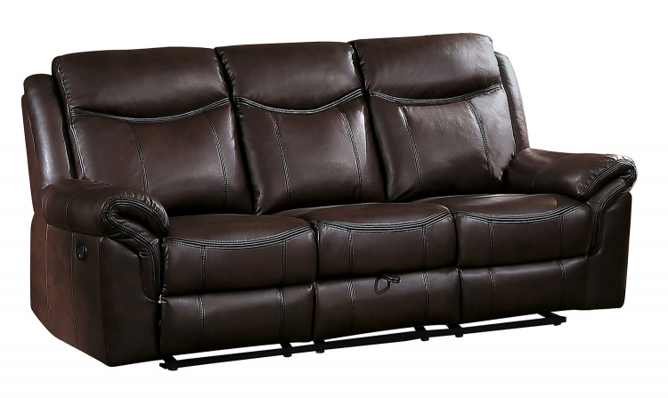 Aram Double Reclining Sofa with Drop-Down Table and Center Storage Drawer - Dark Brown AireHyde Match