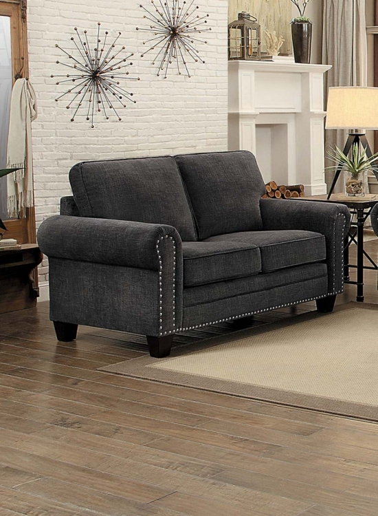 Cornelia Love Seat - Dark Gray Fabric