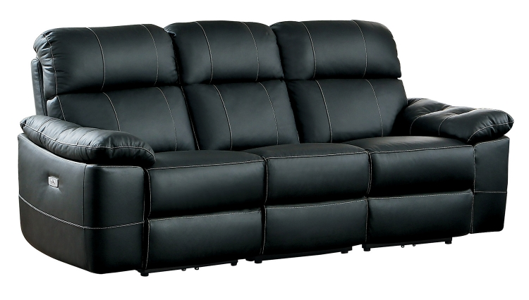 Nicasio Power Double Reclining Sofa - Black Leather