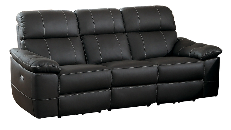Nicasio Power Double Reclining Sofa - Dark Brown Leather