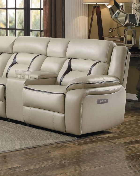 Amite Power Right Side Facing Reclining Chair - Beige Leather Gel Match
