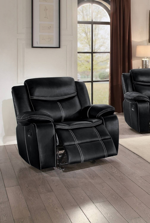 Bastrop Glider Reclining Chair - Black Leather Gel Match