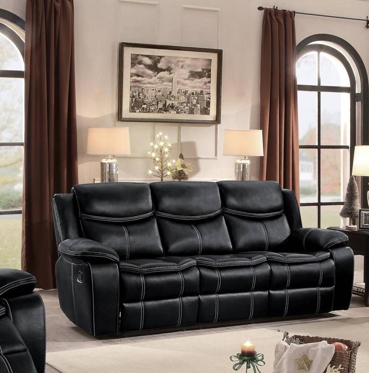 Bastrop Double Reclining Sofa - Black Leather Gel Match