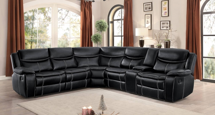 Bastrop Reclining Sectional Set - Dark Brown Leather Gel Match