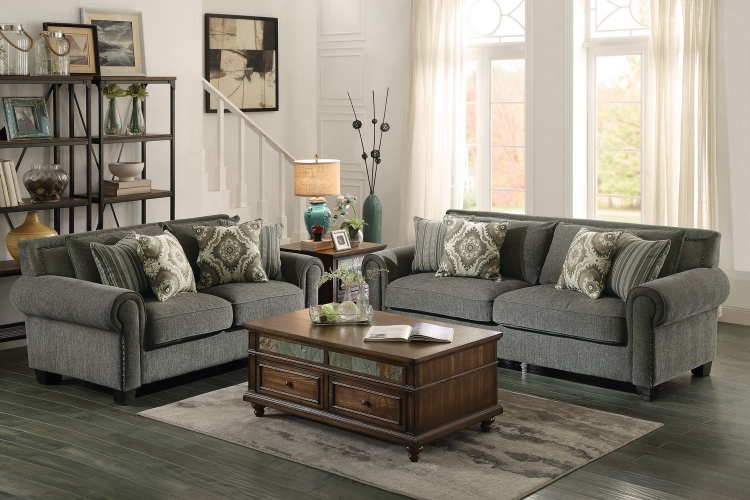 Hooke Sofa Set - Polyester - Grey