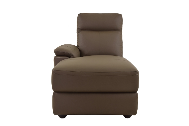 Homelegance Olympia Left Side Facing Chaise - Raisin Top Grain Leather Match