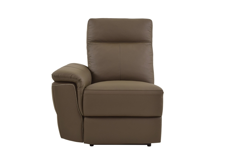 Olympia Power Left Side Facing Reclining Chair - Raisin Top Grain Leather Match