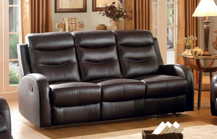 Coppins Double Reclining Sofa - Top Grain Leather Match - Chocolate