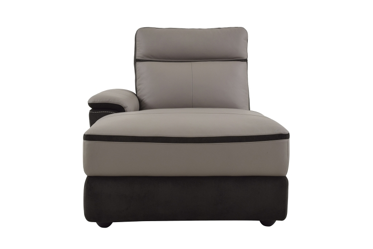Homelegance Laertes Left Side Facing Chaise - Taupe Grey Top Grain Leather/Fabric