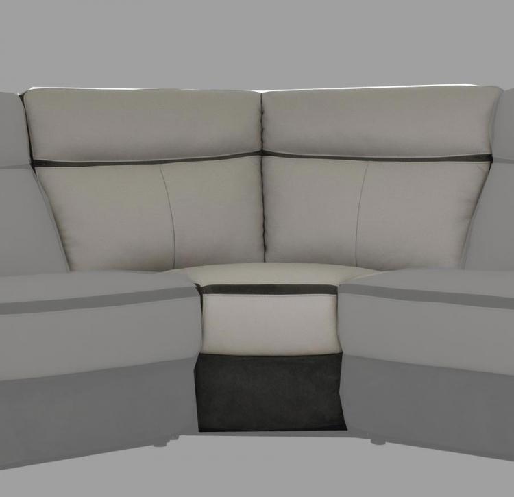 Laertes Corner Seat - Top Grain Leather/Fabric - Taupe Grey