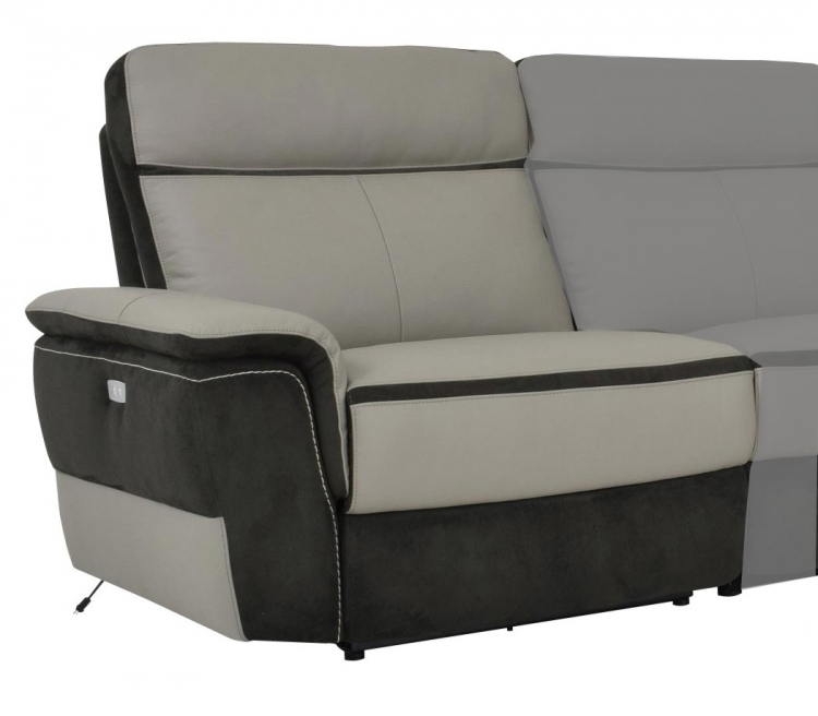 Laertes Power Left Side Reclining Chair - Top Grain Leather/Fabric - Taupe Grey